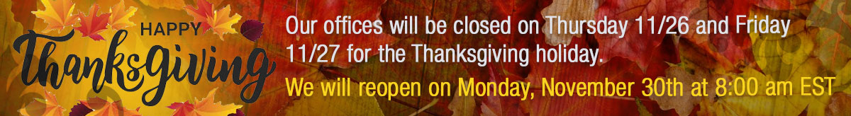 AEMC is closed Thursday November 26th and Friday Noember 28th in observance of the Thanksgiving holdiay. We will repoen on Monday, November 30th at 8am EST.