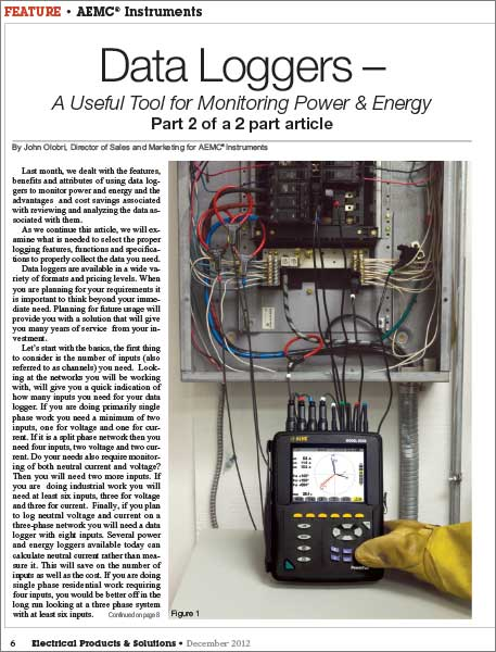 Data Loggers - a useful tool for monitoring power and energy article - part 2