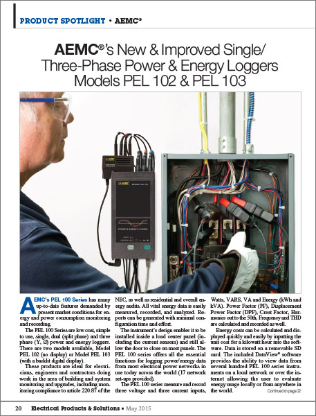 AEMC Single and Three Phase Power and Energy Loggers article
