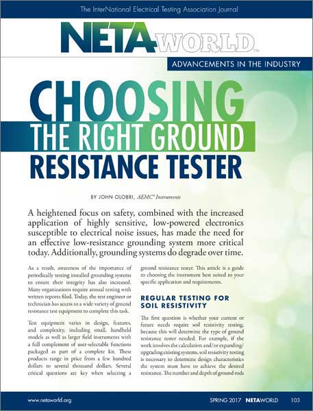 AEMC Choosing the Right Ground Resistance Tester article