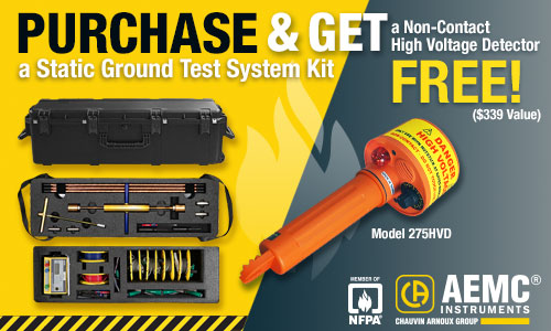 FREE non-contact high voltage detector with the purchase of the Static Ground Test System Kit