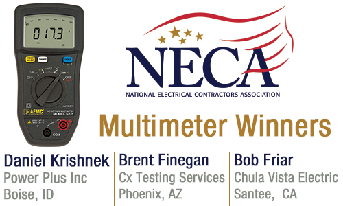 NECA Multimeter Winners: Daniel Krishnek, Brent Finegan and Bob Friar - Congratulations Winners!